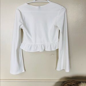 Divided Tops - White Cropped Blouse